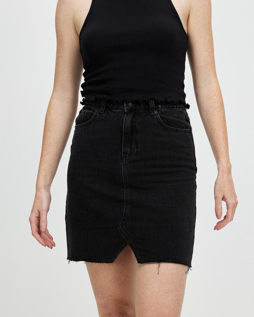 All About Eve Blair Split Skirt Denim skirts Washed Black