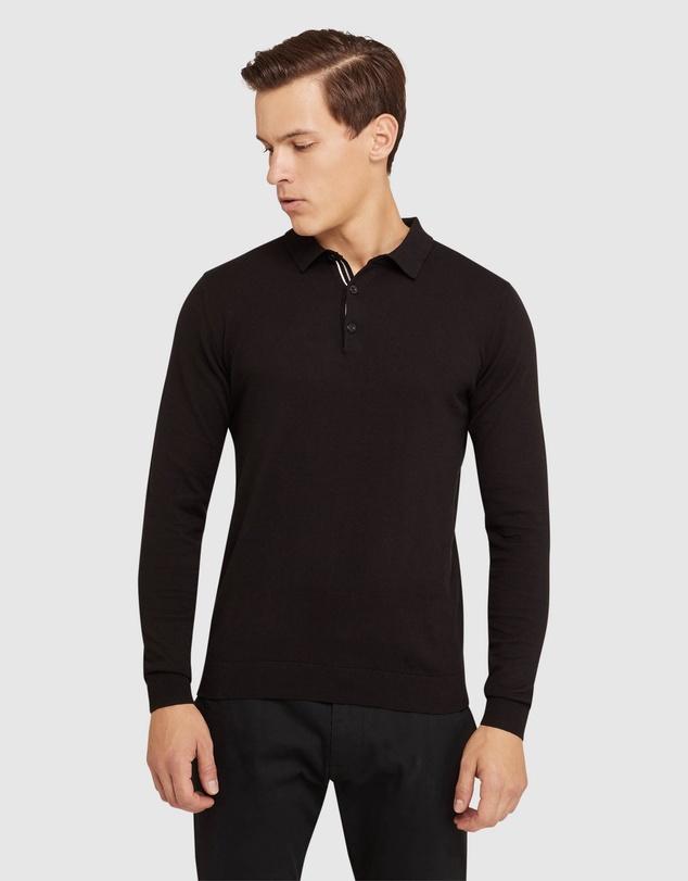 Men Reiss Long Sleeve Knitted Polo