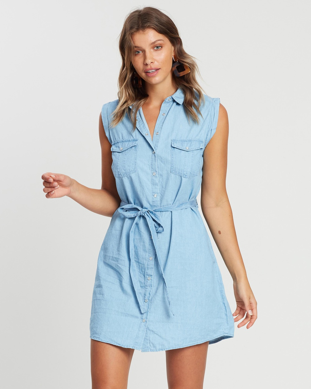 Cotton On Chambray Woven Tilly Sleeveless Shirt Dress