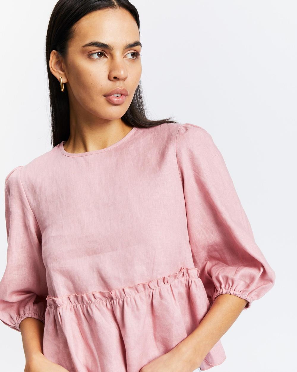 AERE Linen Peplum Top Tops Pink