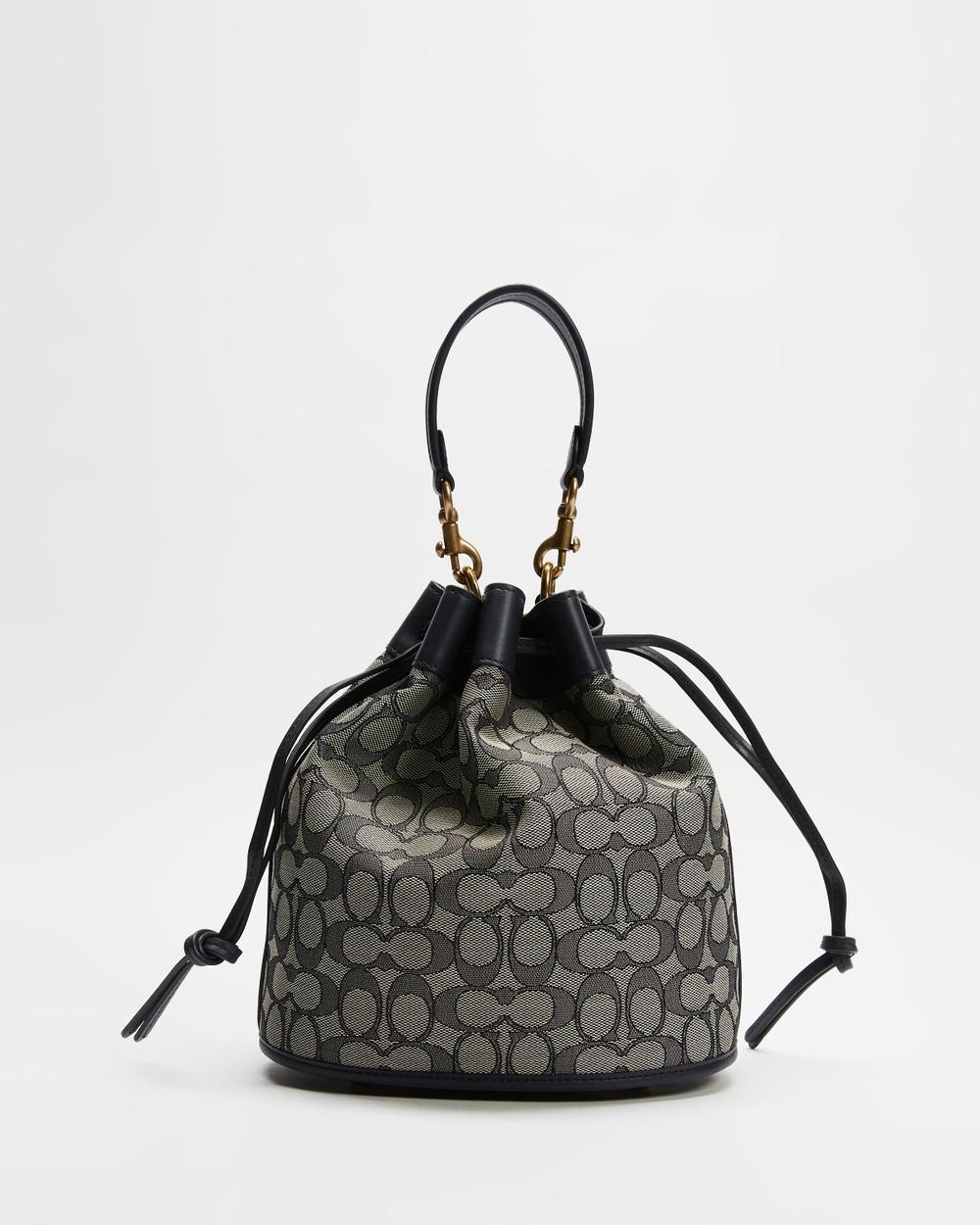 Coach Signature Jacquard Field Bucket Bag Handbags Navy Midnight Navy Australia