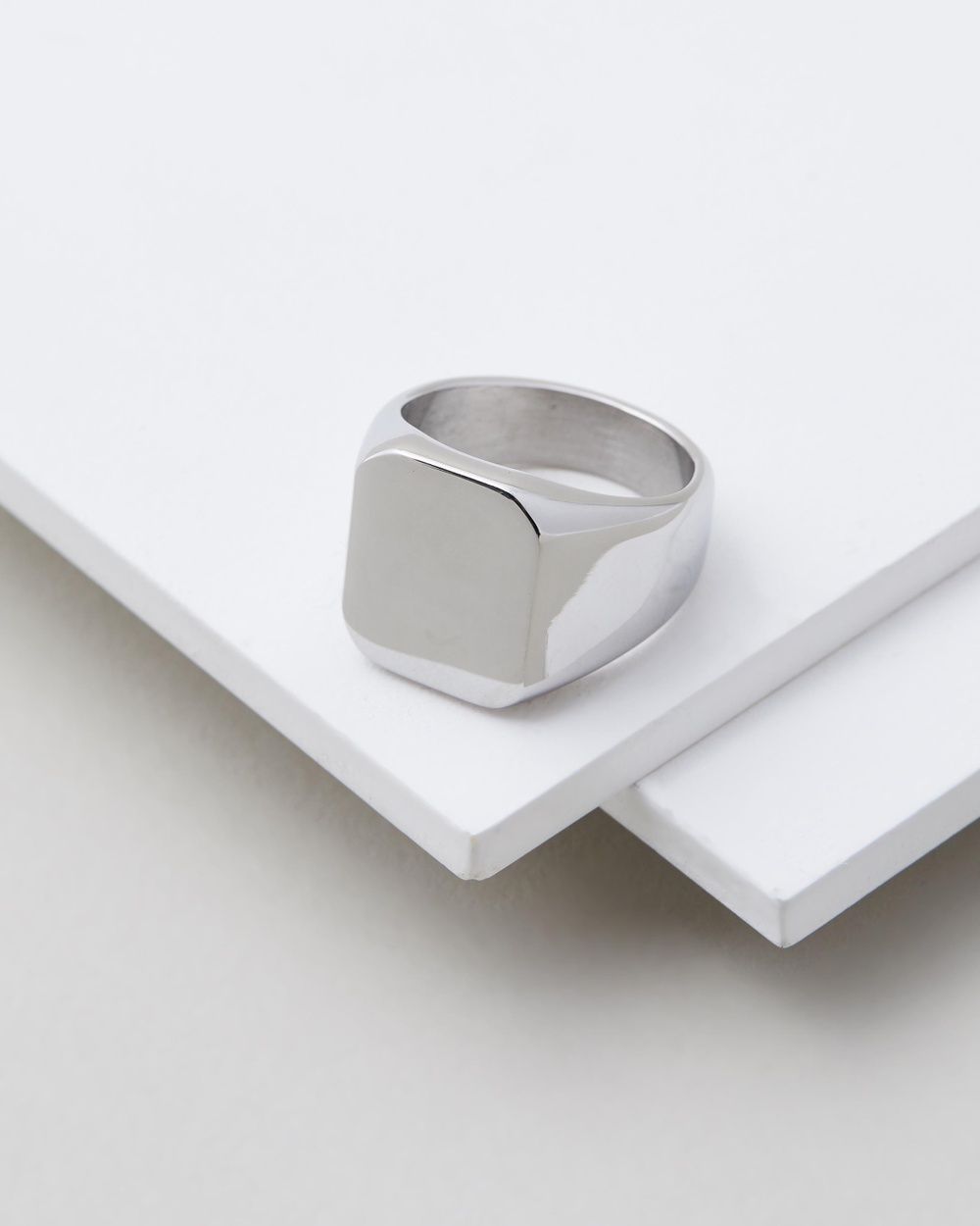 Icon Brand Stainless Steel 17mm Signet Ring Jewellery Silver