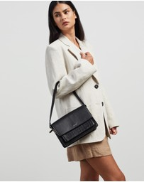 Fall The Label - Black Shoulder Bag With Panel Fold-Over