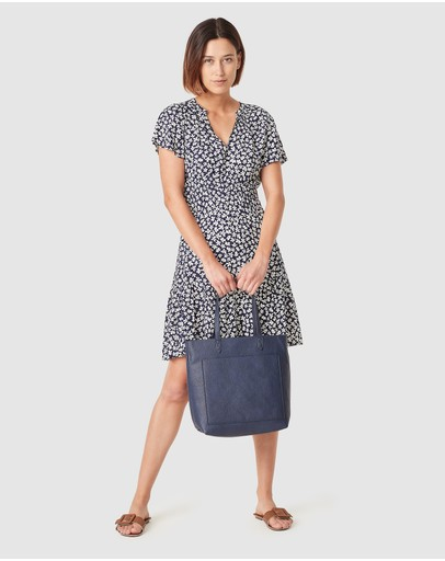 French Connection Ditsy Floral Tea Dress Navy Disty