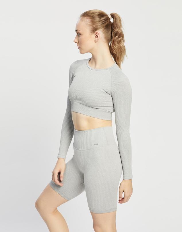 Women Ribbed Seamless Crop Long Sleeve Top