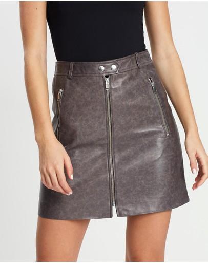 Ena Pelly Minimalist Biker Skirt Vintage Grey & Silver