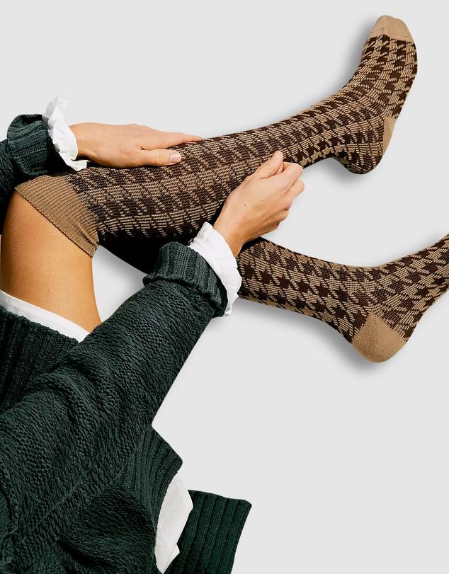 Women Houndstooth Knee High Socks