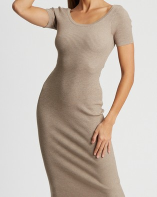 BWLDR Linda Knit Dress - Bodycon Dresses (Dove Grey)