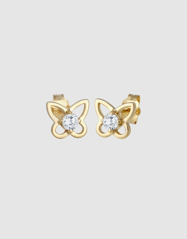 Elli Jewelry - Earrings Butterfly Summer Sparkling with Zirconia in 375 Yellow Gold