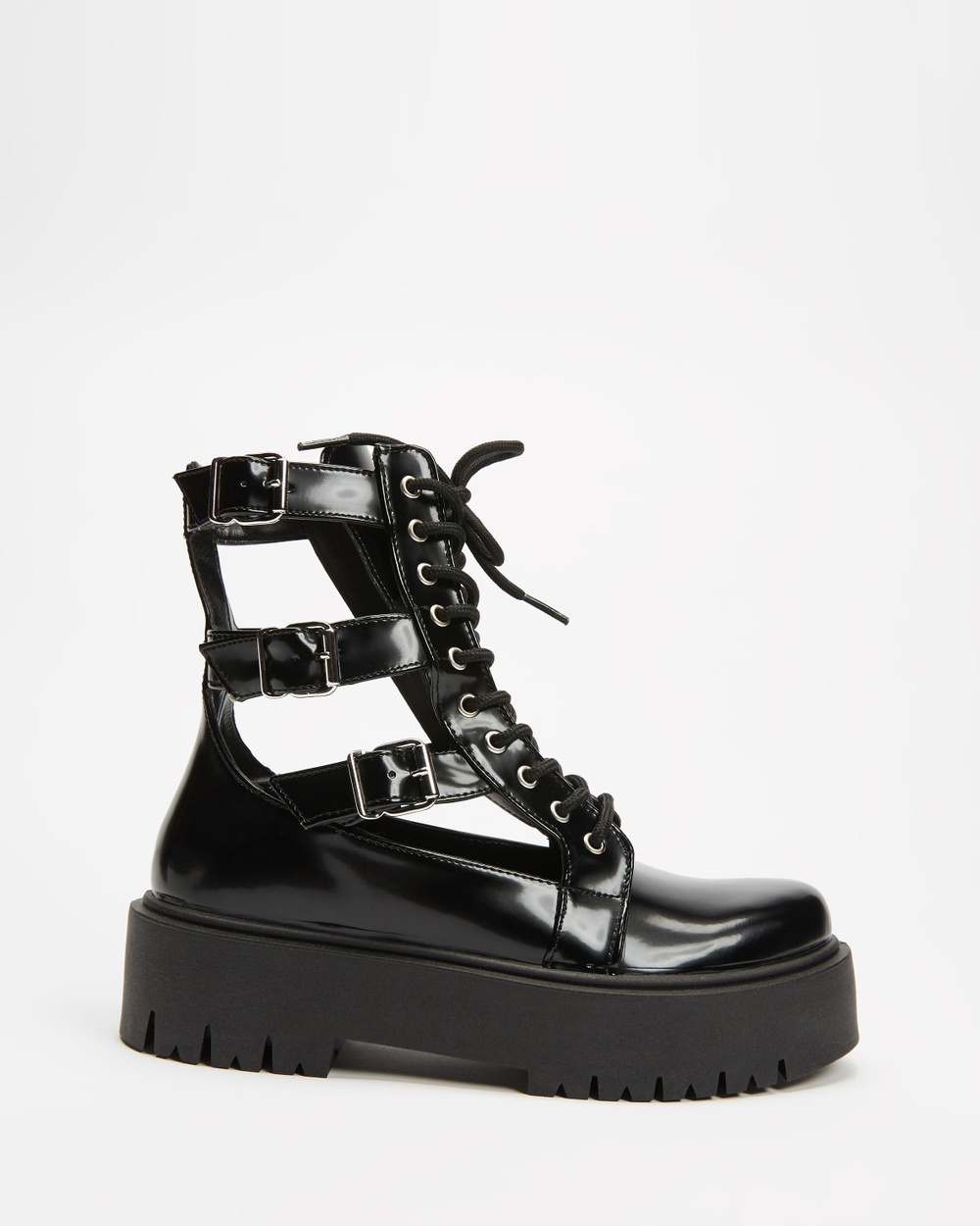 TOPSHOP Babe Cut Out Buckle Boot Boots Black Cut-Out