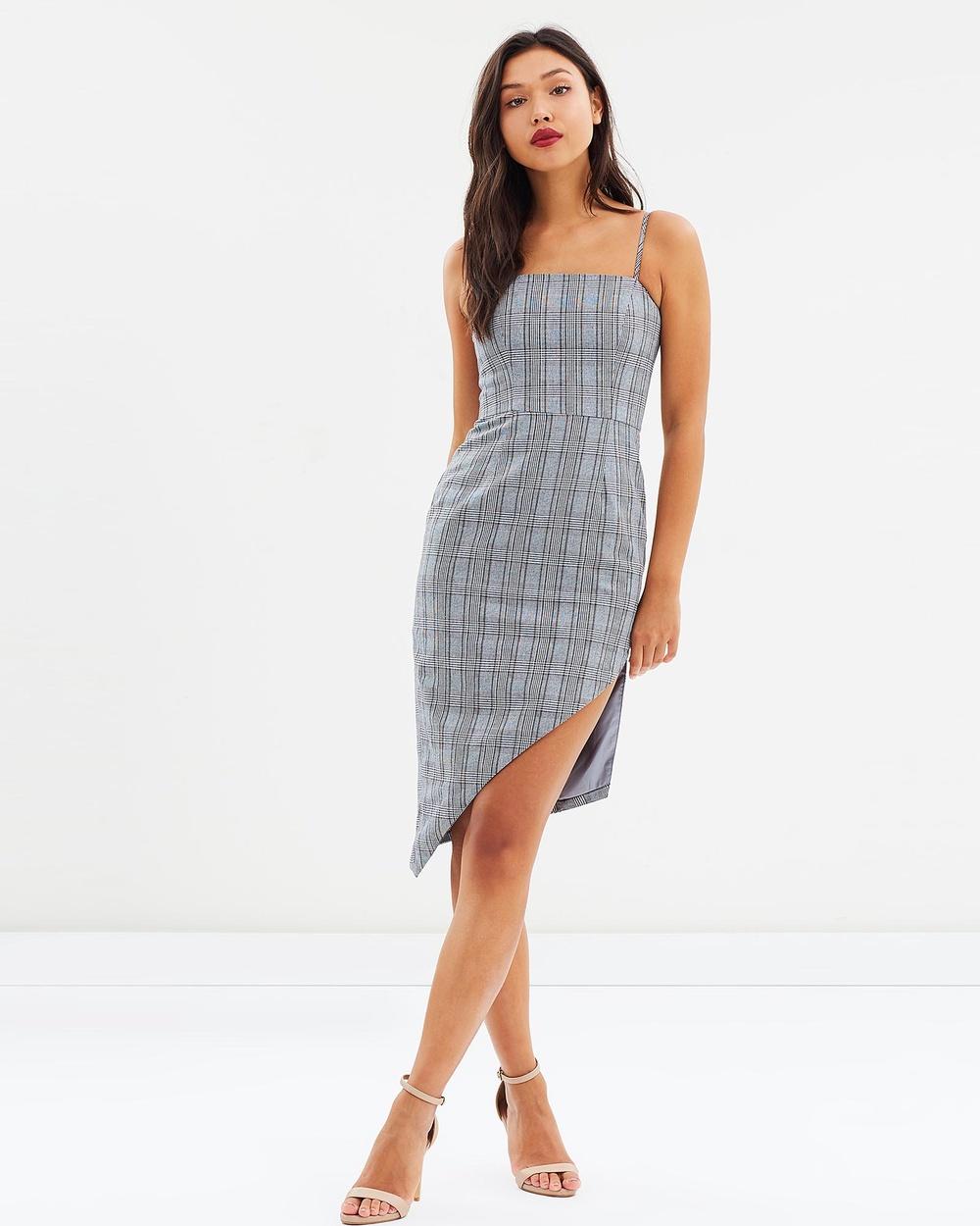 DELPHINE Assembly Dress Dresses Grey Check Assembly Dress