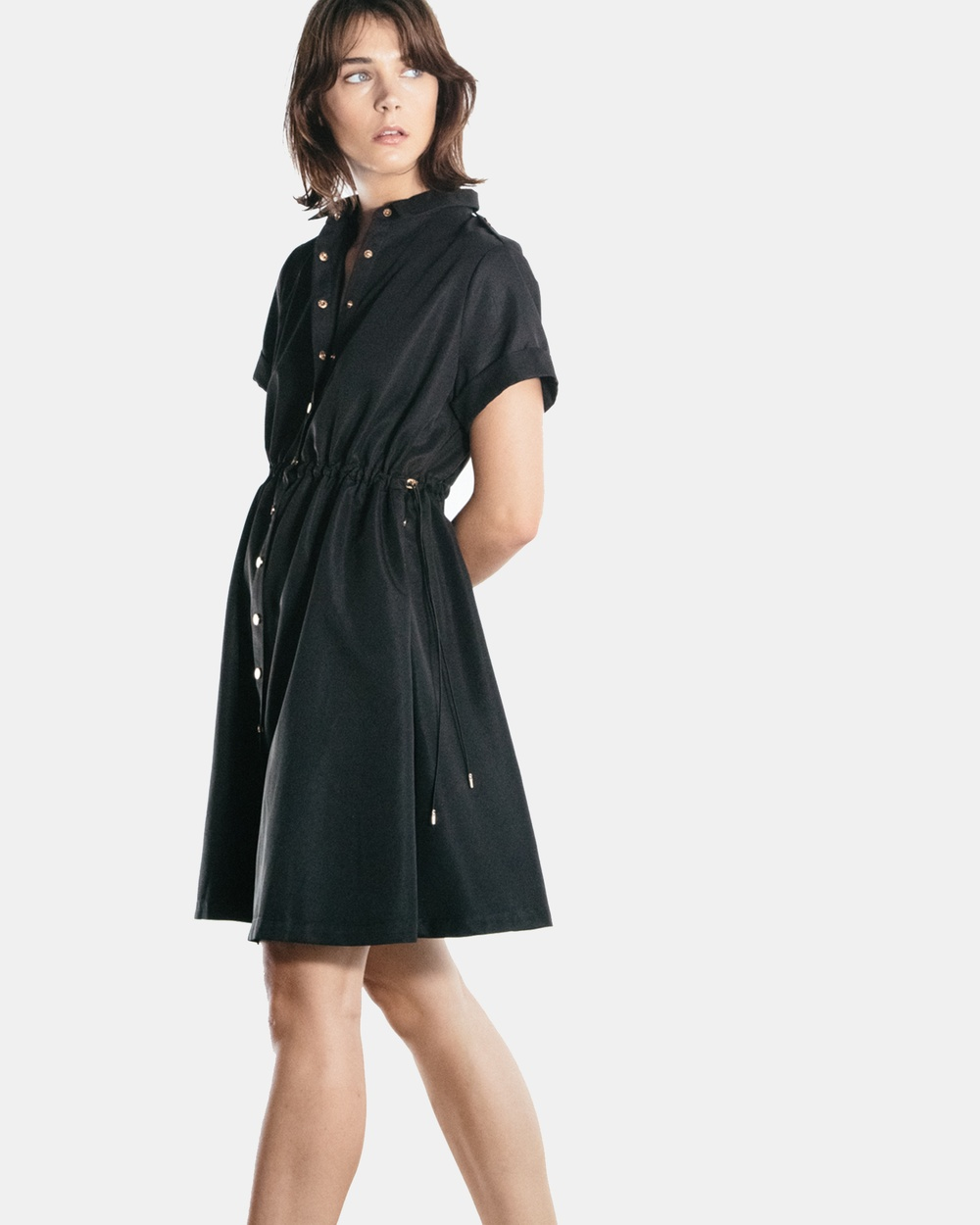The Rushing Hour Brooklyn Poplin Shirt Dress Dresses Black Brooklyn Poplin Shirt Dress