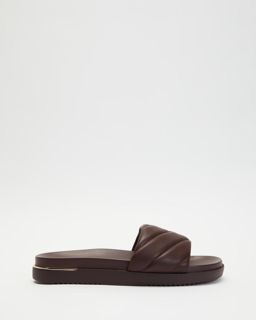 ALDO Acaswen Quilted Slides Sandals Dark Brown