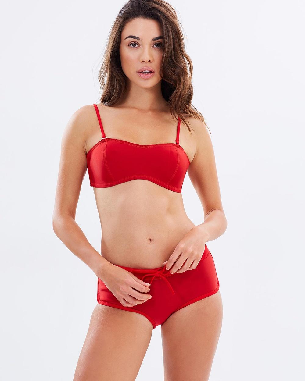 Duskii Kailua Surf Shorts Bikini Bottoms Red Kailua Surf Shorts