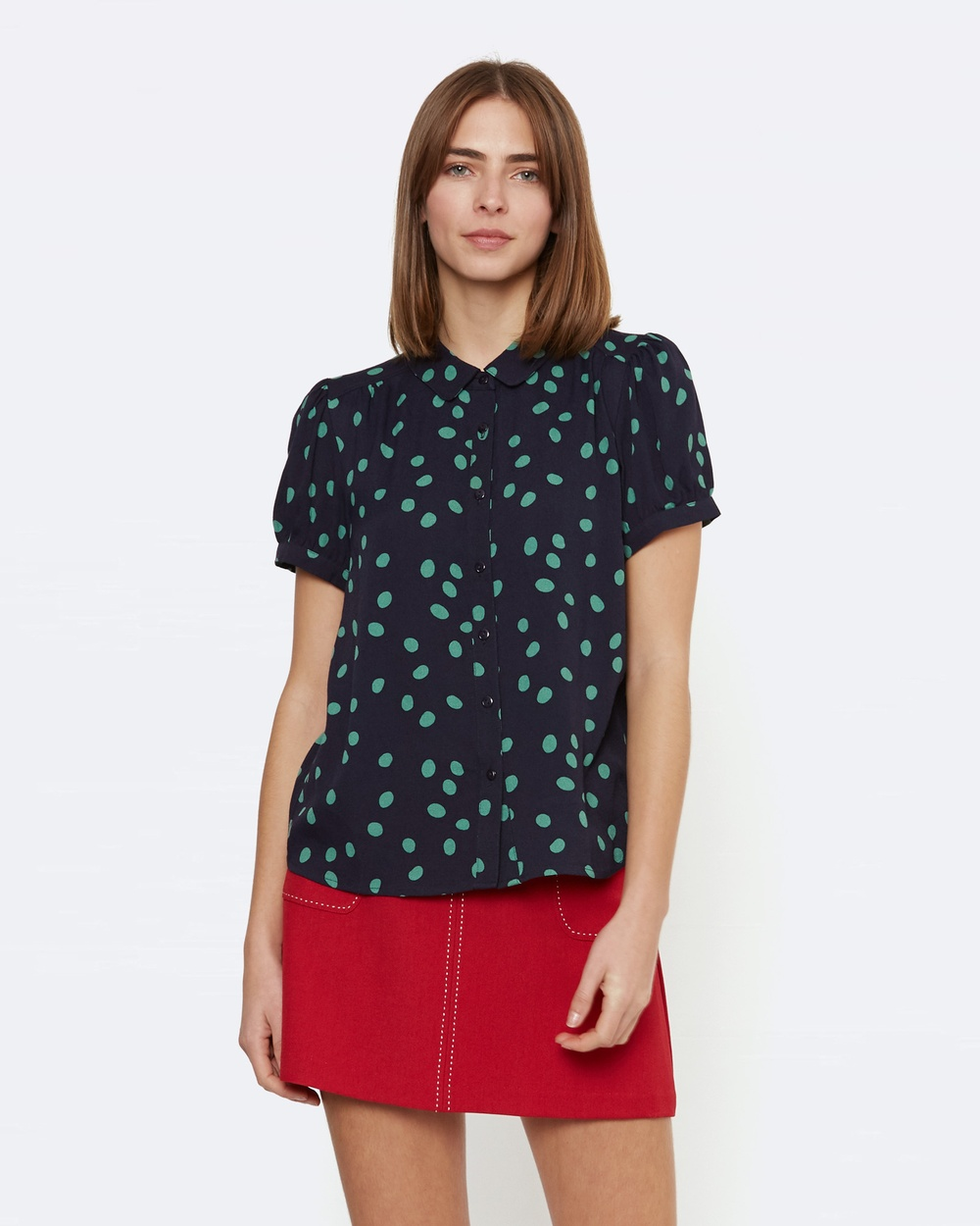 Princess Highway Ida Spot Blouse Tops Blue Ida Spot Blouse