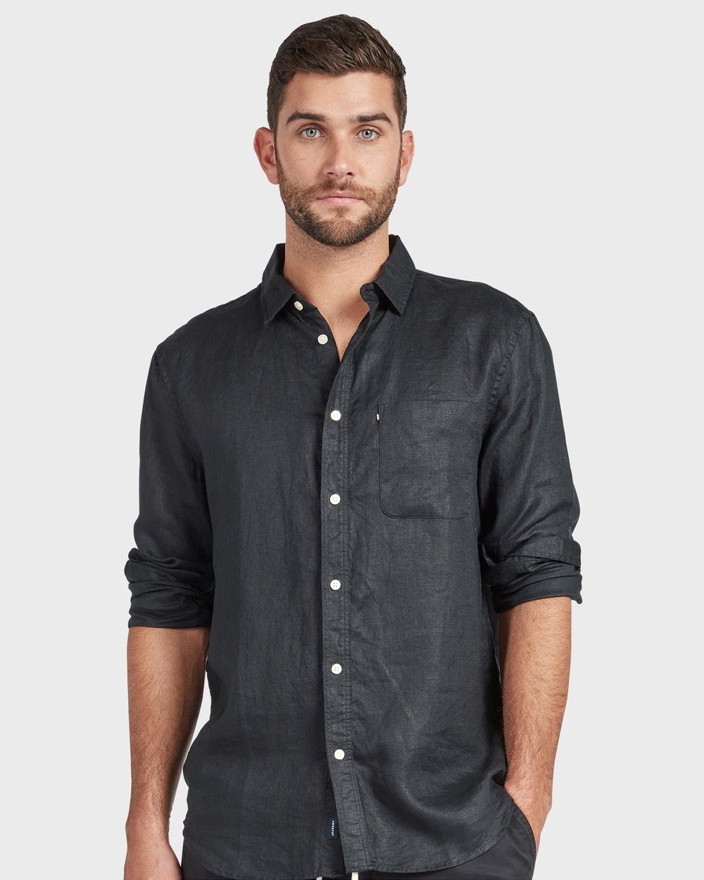 Academy Brand Hampton L S Linen Shirt Shirts & Polos Black L-S
