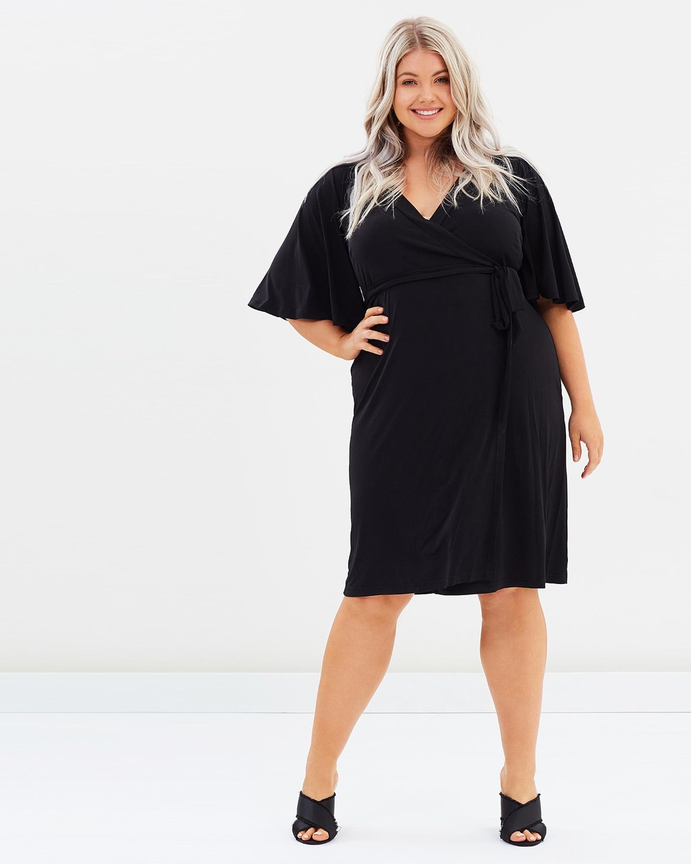 Harlow Siren Wrap Dress Dresses Black Siren Wrap Dress