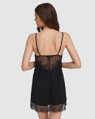 Oh!Zuza Lace Detail Chemise - Sleepwear (Black)