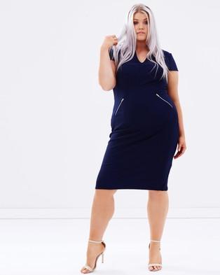 Lost Ink Plus – Zip Pencil Dress – Bodycon Dresses (Navy)