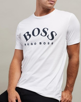 BOSS Cotton Curved Logo Tee - T-Shirts & Singlets (White)