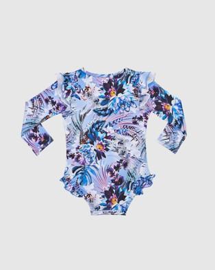 Aqua Blu Kids Iris Flutter Long Sleeve One Piece   Babies - One-Piece / Swimsuit (Iris)