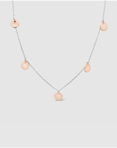 Ichu Rose Gold Multi Disk Necklace 925 Sterling Silver