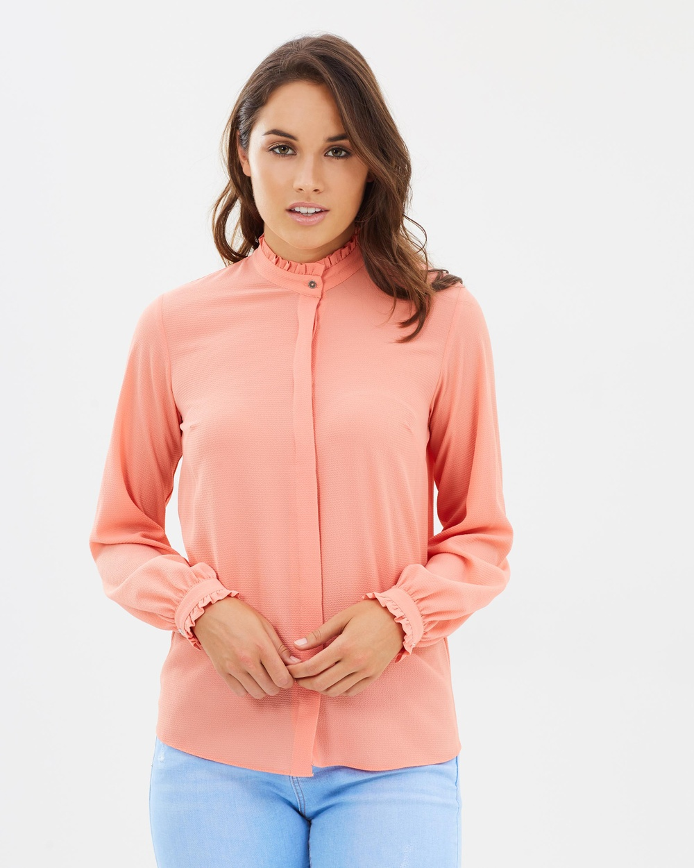 Dorothy Perkins Pie Crust Shirt Tops Coral Pie Crust Shirt