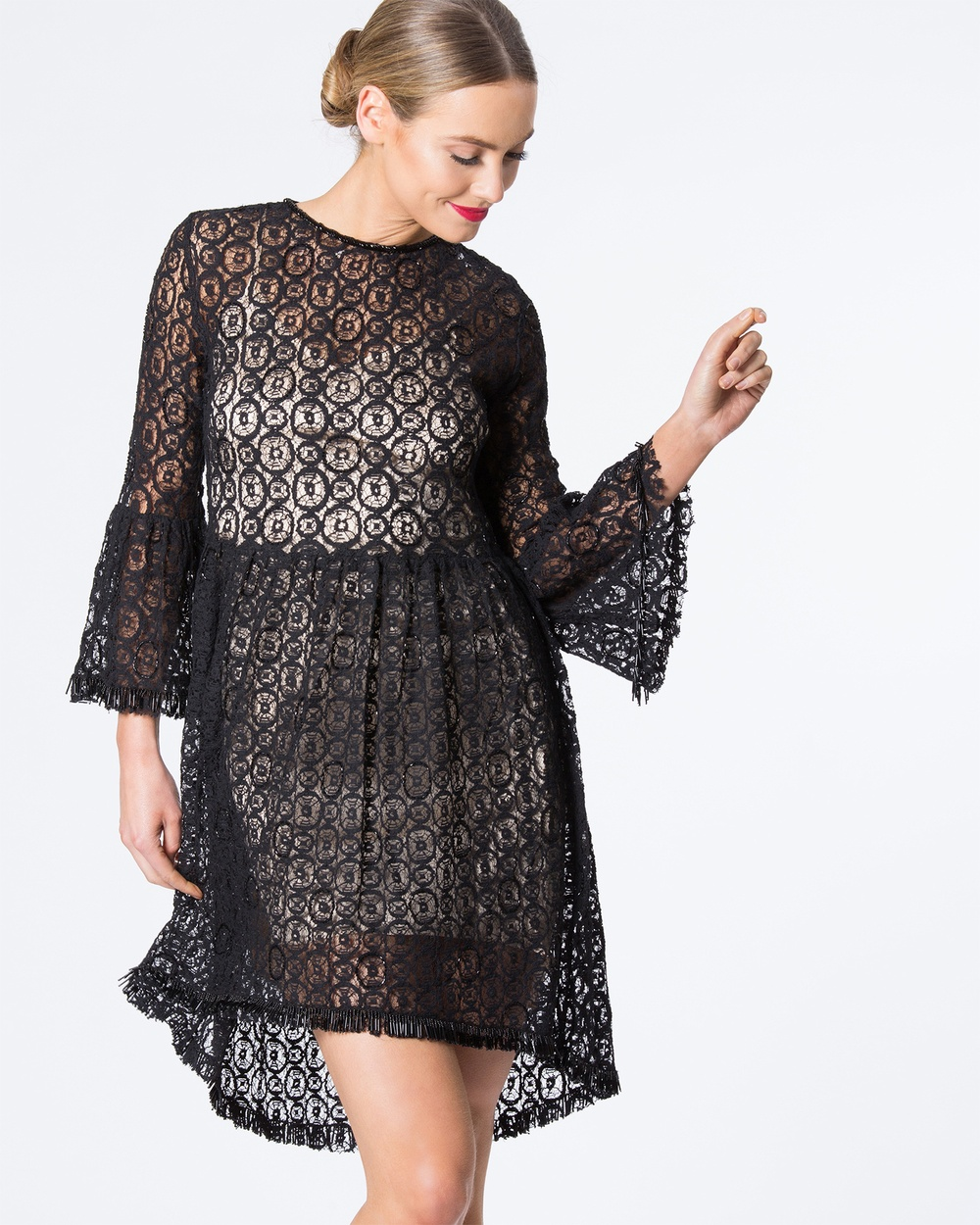 SIYONA Beaded Lace Dress Dresses Black Beaded Lace Dress