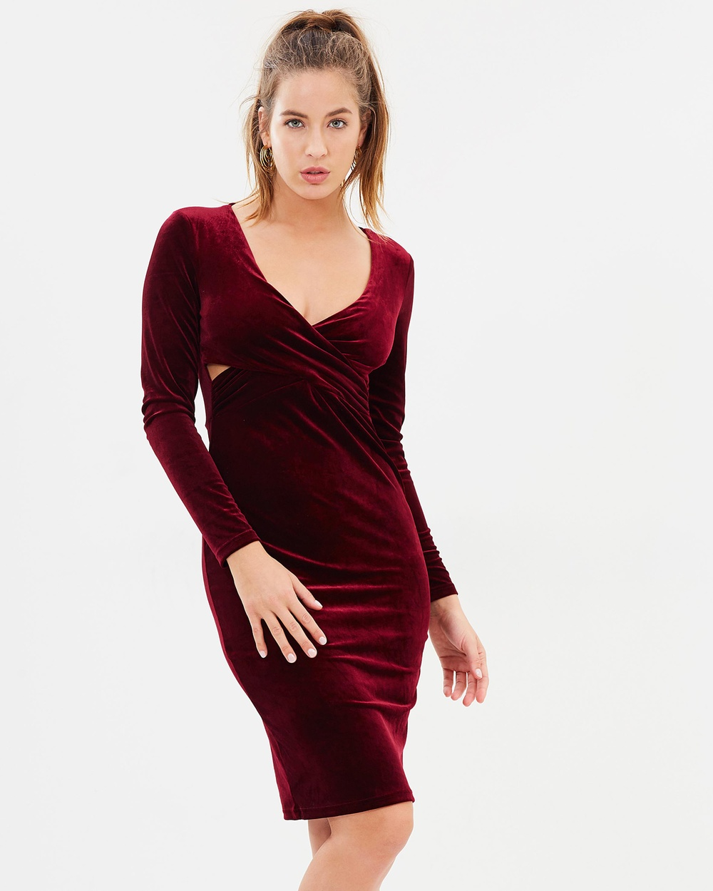 Atmos & Here ICONIC EXCLUSIVE Valerie Velvet Pencil Dress Bodycon Dresses Wine Velvet ICONIC EXCLUSIVE Valerie Velvet Pencil Dress