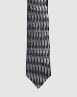 Buckle Cube Tie & Pocket Square Set - Ties (Brown)