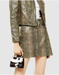 TOPSHOP - Snake Zip-Through Buckle Skirt
