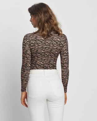 Glamorous Zebra Bodysuit - Tops (Tan Zebra)