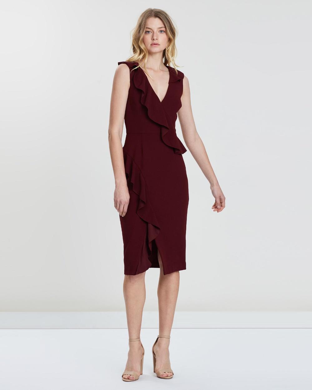 Rebecca Vallance Sylvette Midi Dress Bridesmaid Dresses Burgundy Sylvette Midi Dress