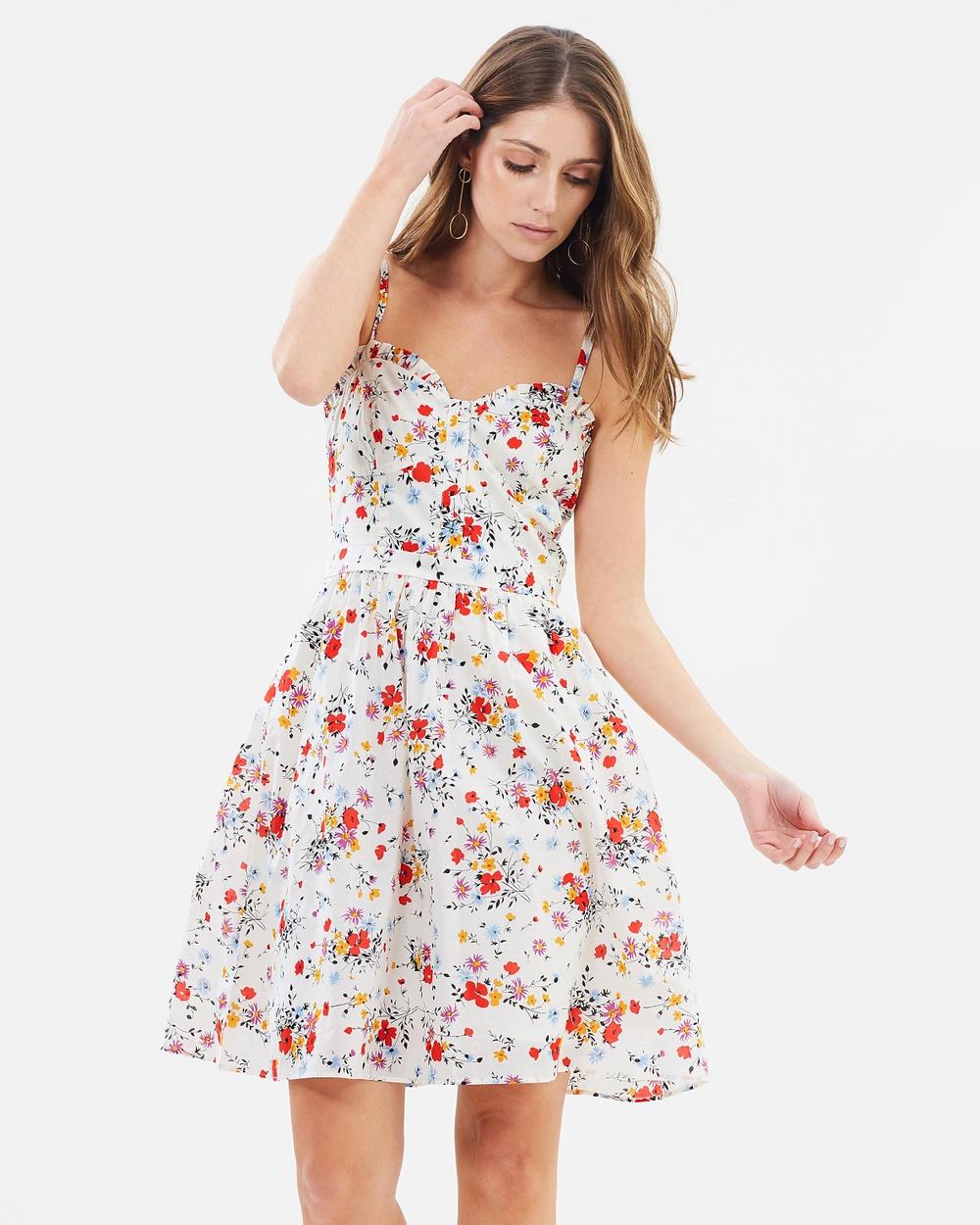 Oasis Bouquet Cotton Corset Sundress Printed Dresses Multi Natural Bouquet Cotton Corset Sundress
