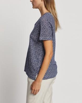 David Lawrence - Valerie Pritned Linen Tee T-Shirts & Singlets (MIDNIGHT/I)