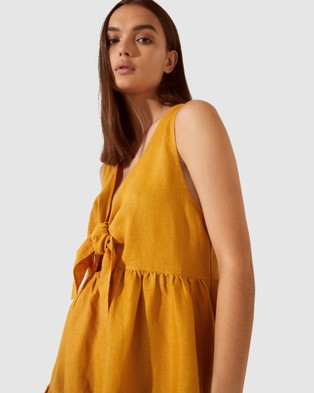 SABA SB Lila Linen Tiered Tie Dress - Dresses (yellow)