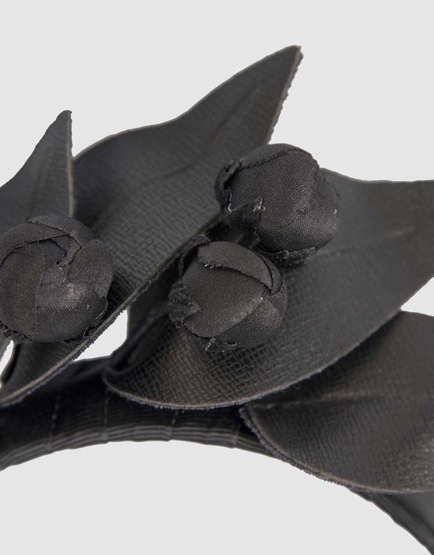 Women Black Leather Flowers Headband
