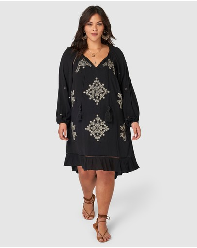 The Poetic Gypsy Nightspell Embroidered Dress Black Neutral Embroidery