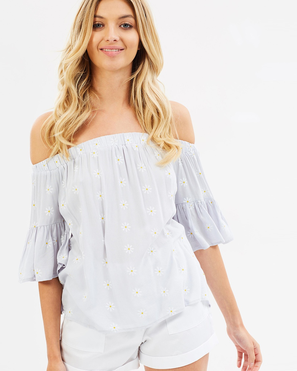 Sass Daisy Chain Off Shoulder Top Tops Daisy Chain Print Daisy Chain Off-Shoulder Top