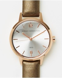 French Connection - 30mm Pearlised Leather Strap Watch