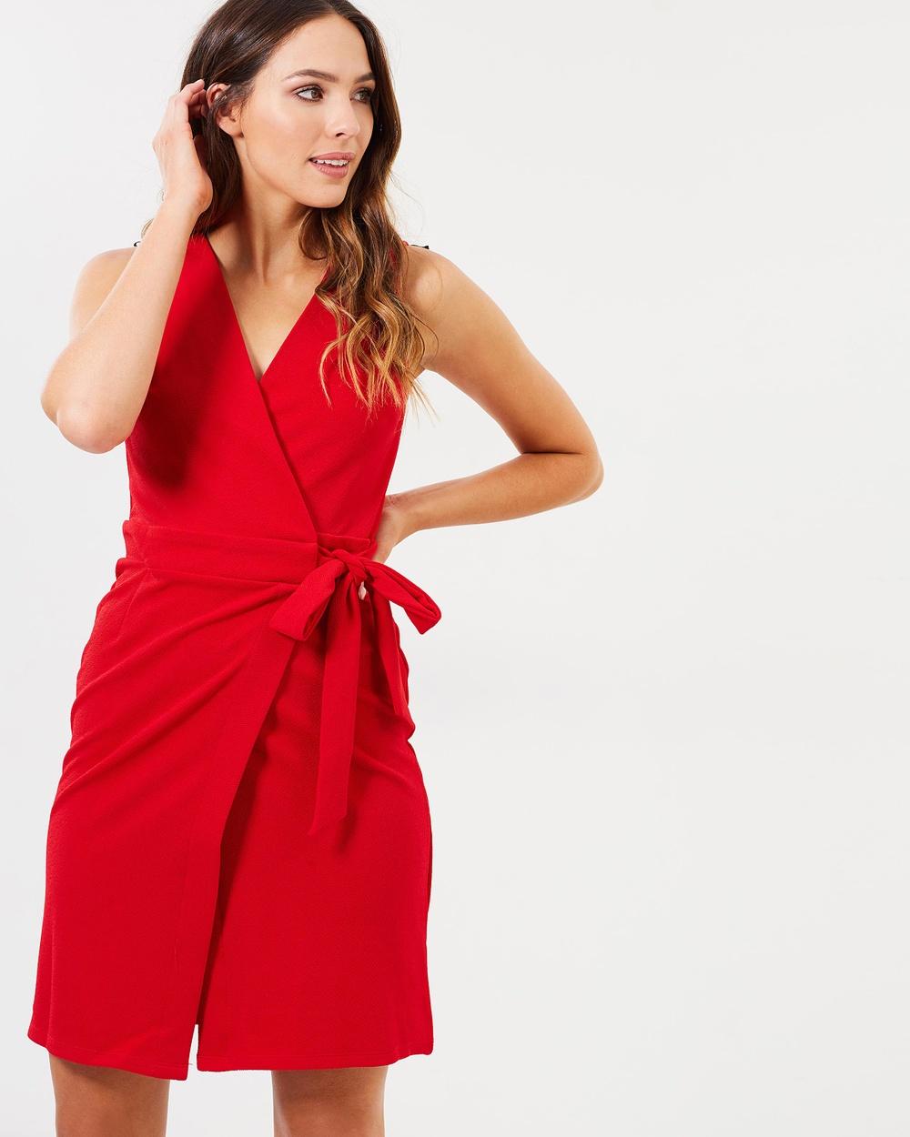 Dorothy Perkins Sleeveless Wrap Dress Dresses Red Sleeveless Wrap Dress