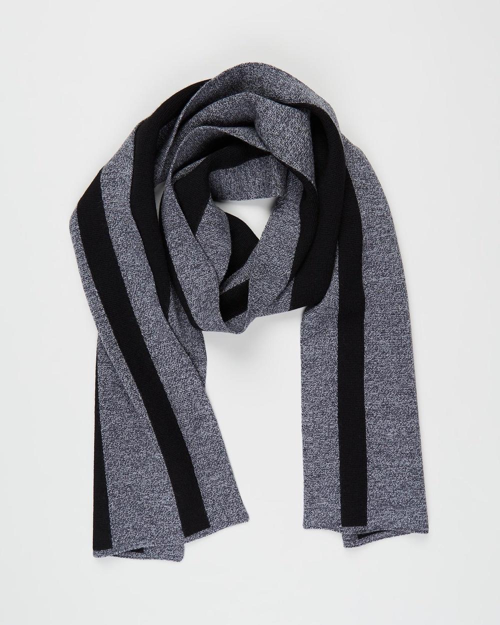 Kent and Curwen Striped Scarf Scarves & Gloves Black