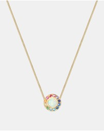 Elli Jewelry - Necklace Women Round Circle Rainbow Geo Blogger Swarovski Crystals 925 Silver Gold Plated