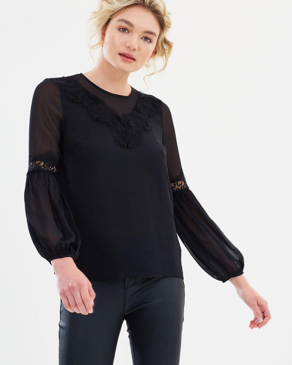 Warehouse Lace Neck Trim Top Tops Black Lace Neck Trim Top