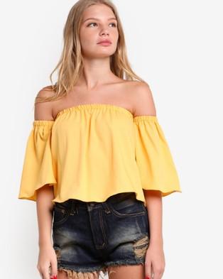 BoyFromBlighty – Floating Sleeve Off Shoulder Top Yellow