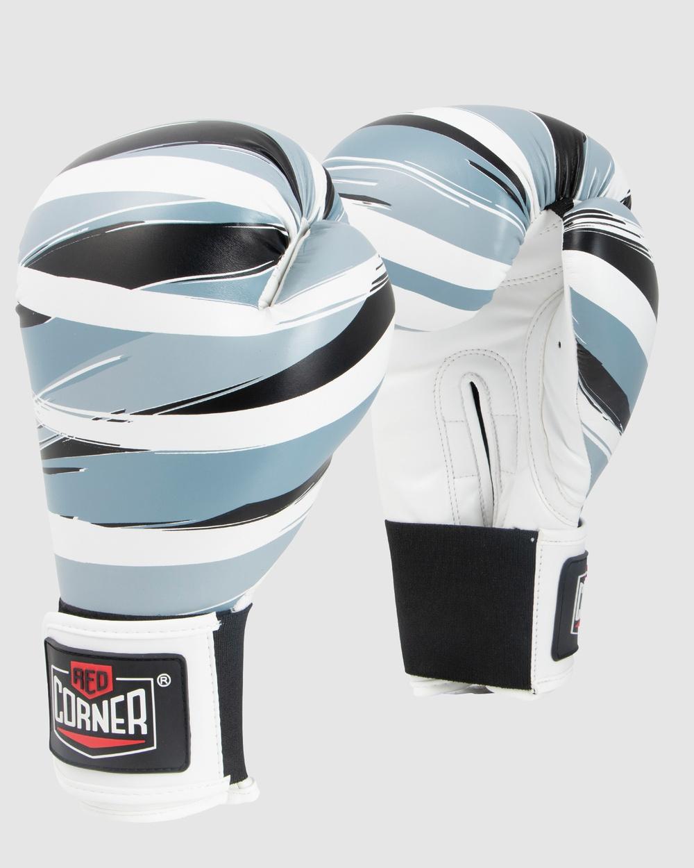 Red Corner Boxing RCB Spar boxing Gloves Stripes Training Equipment Black