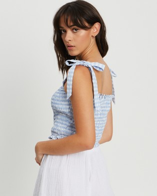The Fated Jasmine Top - Tops (Blue Gingham)