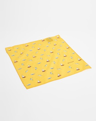 Gant Cotton Silk Pocket Square - Pocket Squares (Yellow)