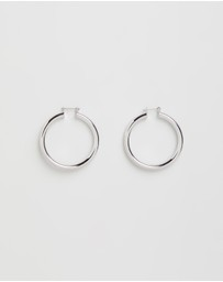 Luv Aj - The Amalfi Silver Tube Hoop Earrings