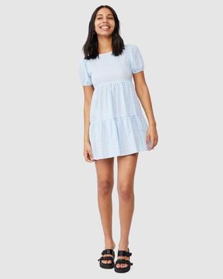 Cotton On Woven Abbie Tie Back Babydoll Mini Dress - Dresses (Lana Gingham Chambray Blue)